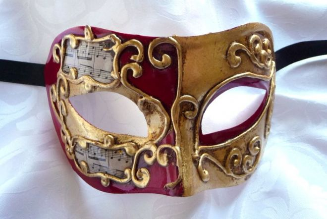 Genuine Venetian Red with Gold Leaf Mask